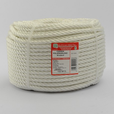 WHITE BRAIDED POLYPROPYLENE COIL (4 Ends) 10 mm Ø