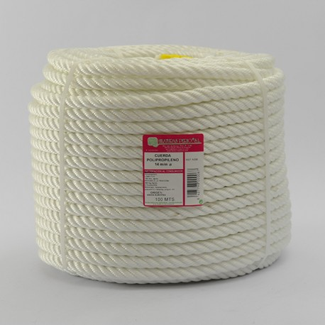WHITE BRAIDED POLYPROPYLENE COIL (4 Ends) 14 mm Ø