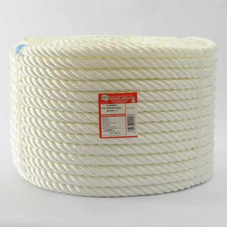 WHITE BRAIDED POLYPROPYLENE COIL (4 Ends) 20 mm Ø