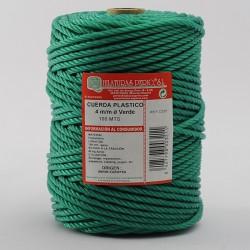 BOBINA CUERDA PLASTICO (4 cabos) 4 mm Ø Verde