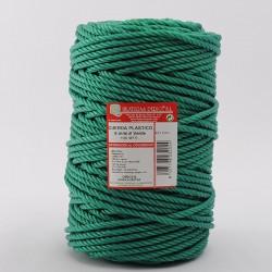 BOBINA CUERDA PLASTICO (4 cabos) 6 mm Ø Verde